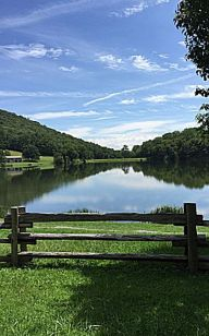 beautiful lake with fence